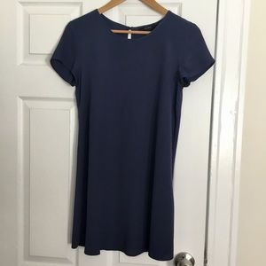 Forever 21 Solid Blue T-Shirt Dress
